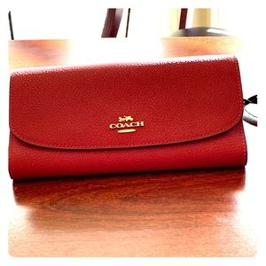 Dark Red Coach Wallet with Checkbook cover
